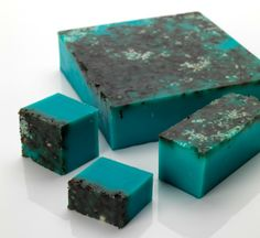 Sea Vegetable   Soap Peer into the ocean. A deep blue bar for using under water.  The handfuls of seaweed in this soap don't just look stunning, they are mineral rich and skin softening. You'll start to feel the effects as you're washing.   This is the perfect soap for banishing nasties due to the sea salt and antiseptic lavender oil.