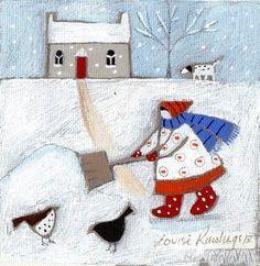 Shoveling the Walk - by Louise Rawlings (art, illustrations, winter, snow) Winter Art, Winter Time, Winter Snow, Winter Illustration, Illustration Art, Naive Art, Whimsical Art, Christmas Art, Watercolor Art