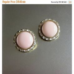 ON SALE Vintage Channel Set Earrings, Pale Pink Lucite Rhinestones,... ($11) ❤ liked on Polyvore featuring jewelry, earrings, vintage jewellery, acrylic earrings, lucite earrings, vintage lucite jewelry and rhinestone stud earrings