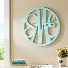 Wooden Cut-Out Script Monogram in white to contrast against the wall, put above bed