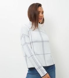 White Check Turtle Neck Jumper  | New Look
