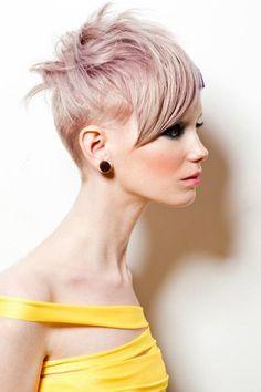 Platinum  lavender hair pixie with undercut