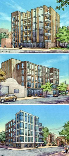FitzGerald Associates.  3 Chicago sites.  12 hour charrette.  Drawings by Bruce Bondy, Bondy Studio.