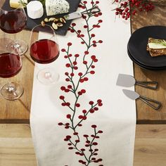 A vine of delightful red berries embroiders our natural cotton flax table runner with a pop of seasonal color. Casual yet sophisticated, the placemat coordinates with matching placemat and napkin. Christmas Table Cloth, Christmas Crafts, Christmas Decorations, Xmas, Christmas Tables, Purple Christmas, Coastal Christmas, Table Decorations, Crate And Barrel