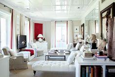 Savvy Home: Designer Crush: Luis Bustamante Living Room Red, Home Living, Living Area, Living Spaces, Studio Living, Interior Design Studio, Interior Design Inspiration, Interior Ideas, Room Inspiration
