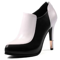 Plus Size Platform High Heels Boots Zip Chunky Heel Ankle Boots for Women 2015 New Fashion Booties Dropshipping black+white