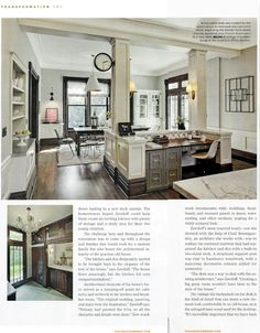 Kitchen Lab Design including Visual Comfort's Goodman Hanging Pendants, Vendome Sconces and Boston Functional Wall Lights as Featured in Chicago Homes Magazine