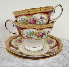•.¸.•´ ` ❤☆.¸.☆ *❤•.¸.•´ `•.¸.•´ Pair of Royal Albert Lady Hamilton Teacups! $50.00 •.¸.•´ ` ❤☆.¸.☆ *❤•.¸.•´ `•.¸.•´
