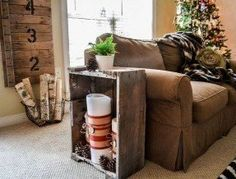Hometalk :: Old Crate End Table and Candles Crate End Tables, Small End Tables, Old Crates, Wood Pallets, Love Seat, Sweet Home, Couch, Candles, Throw Pillows