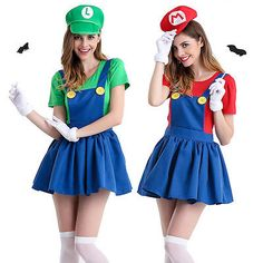 Adult Women's Halloween Costumes Outfits Super Mario and Luigi Workmen Couples