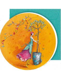 """Carte double ronde 12.5 cm de Gaëlle Boissonnard """"L'arbre"""""""