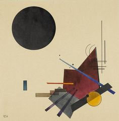 Wassily Kandinsky, 1924. Watercolor. 'Schwarze Beziehung', or 'Black Relationship'. Did much of his work in Germany, including teaching at The Bauhaus.