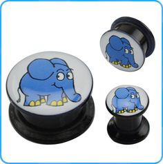 wholesale body jewelry elephant picture insect acrylic ear plugs