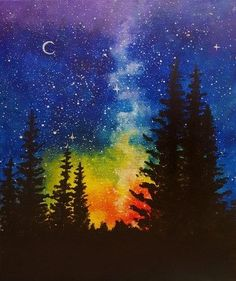 A Night at Rainbow Pines Check out our favorite #trendingpaintings for November #PaintNite More
