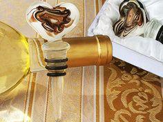 Murano Heart Glass Bottle Stopper Wedding Favors (TW2752C)