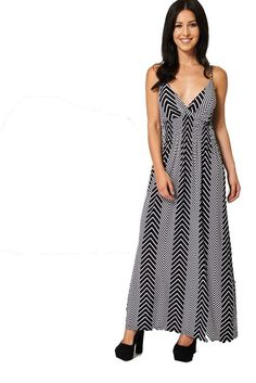 Ladies Womens Black & White Adjustable Spaghetti Straps Summer Maxi Dress 10-16