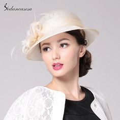 Brand Fashion Spring Summer Autumn Womens Brown rIvory Yellow Color Sinamay Hat With Flower SW201007 Check it out! #shop #beauty #Woman's fashion #Products #Hat