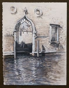 Travel Drawing: Venice, Italy Inktense and Prismacolor Pencil on Paper x 2016 Travel Drawing, Prismacolor, Venice Italy, Pencil Drawings, Big Ben, Windows, Doors, Paper, Artwork