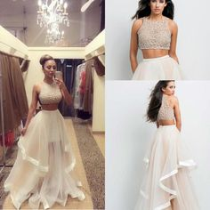 Two Pieces Prom Dresses Beads Crew A Line Asymmetrical Organza Beach Dresses Party Eveninggowns Ruffles Spring Summer Homecoming Dresses Backless Prom Dresses Uk Beautiful Prom Dress From Click_me, $118.87| Dhgate.Com