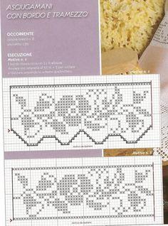 I miei lavori all'uncinetto: Bordo per asciugamani Filet Crochet, Crochet Stitches, Crochet Bedspread, Dollhouse Miniatures, Chart, Knitting, Bedspreads, Disney Cross Stitches, Crochet Curtains
