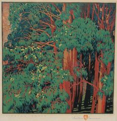Gustave Baumann Singing Trees color woodblock print 14 1/8 x 13 5/8 inches