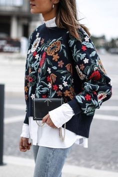 Pasaboho featuring ( A Secret Garden Floral Sweater) ~ Embroidery Fashion Trends 2018 - Now Available in Store at $75