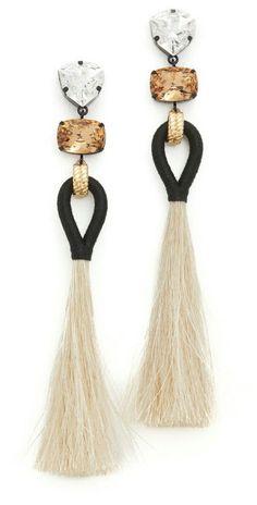 Tory Burch Hanging Tassel Earrings for sorority recruitment Tassel Jewelry, Statement Jewelry, Diy Jewelry, Jewelry Box, Jewelry Accessories, Fashion Accessories, Handmade Jewelry, Jewelry Design, Jewelry Making