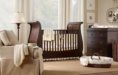 Great Light showcases this Rich Classic dark wood stained furniture. Prefer the neutral & white decor scheme for your Baby Boy. for your baby.