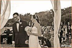 Happy couple during their ceremony! #bride #groom #laugh #wedding #ceremony