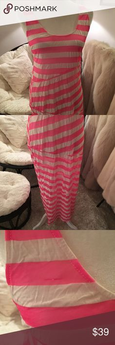 ASOS pink and white cover up dress striped Pre owned one small snag (pictured) on front. Otherwise good condition. Good for pool cover up or sun dress. A bit sheer fabric ASOS Dresses Maxi