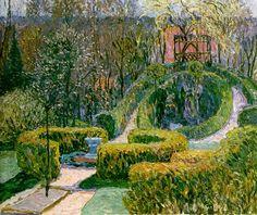 Spring Hedges in Bauerngarten, Heinrich Vogeler, Heinrich Vogeler, Social Realism, Impressionist Artists, Garden Park, Landscape Art, Landscape Paintings, Hedges, Impressionism, Paths