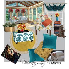 Decorate with Flowers by lacebids on Polyvore featuring interior, interiors, interior design, home, home decor, interior decorating, Skyline Furniture, West Elm, MANGO and ASA
