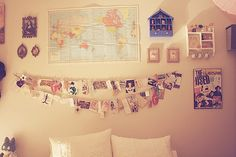 bedroom wall, postcards, map