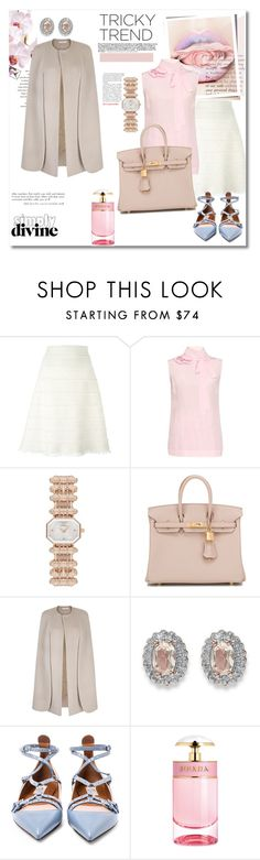 """""""Get the look"""" by vkmd ❤ liked on Polyvore featuring Burberry, Rochas, Emporio Armani, Hermès, Palm Beach Jewelry, Valentino, Prada, women's clothing, women's fashion and women"""