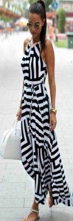 Gorges strip sun Dress! @uzrah.com
