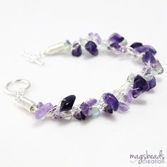Rainbow Fluorite and Amethyst Bracelet by magsbeadscreation, $33.00