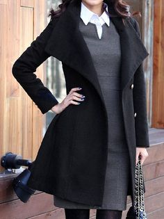 Turn-down Collar Long Sleeves Double Button Short Wool Coat ...