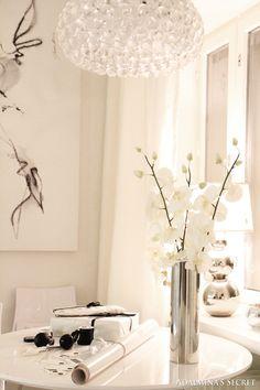 White table silver vase.