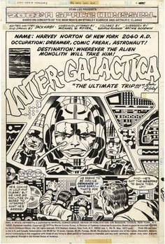 Gallery of Comic Art by Jack Kirby : A Space Odyssey, Issue Page 1 Comic Book Pages, Comic Book Artists, Comic Books Art, Comic Art, Horror Comics, Marvel Comics, Jack King, Jack Kirby Art, Nostalgia