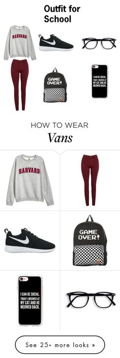"""Outfit for School"" by ava-josephine on Polyvore featuring H&M, AG Adriano Goldschmied, NIKE, Vans and Casetify"