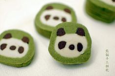 Panda cookies with green tea, vanilla, and chocolate shortbread.