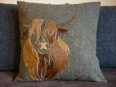 Harris Tweed Cushion Cowhide Patchwork Highland Cow by TallaTweed