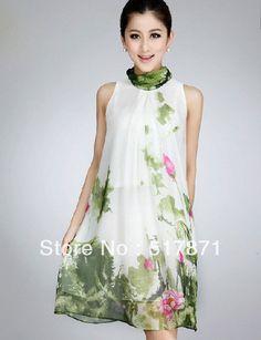 Doprava zadarmo 100% moruše hodváb veľké veľkosti kolená elegantné spoločenské dlhé plus veľkosti maxi šaty vytlačiť letné módne šaty