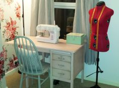Vintage sewing desk painted in Annie Sloan Antoinette, finished with dark wax