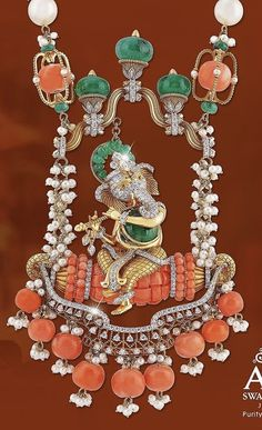 Jewelry Design Earrings, Coral Jewelry, India Jewelry, Temple Jewellery, Gems Jewelry, Gold Jewellery, Pendant Jewelry, Emerald Necklace, Diamond Necklaces