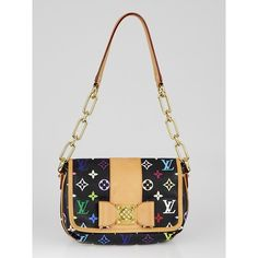 Pre-owned Louis Vuitton Black Monogram Multicolore Patti Bag ($895) ❤ liked on Polyvore featuring bags, handbags, louis vuitton bags, louis vuitton purse, multi color purse, monogrammed purses and louis vuitton