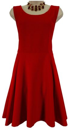 LARGE SEXY Womens LIPSTICK RED TEXTURED SKATER DRESS Express Fit & Flare Holiday #Express #SkaterFitFlare #Versatile