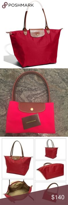 """Longchamp Large Red Tote 12 ¼""""W x 11 ¾""""H x 7 ½""""D with 9"""" strap drop. Traditional large Longchamp Tote! Brand new, never used. No trades💕 reasonable offers encouraged!! Longchamp Bags Totes"""
