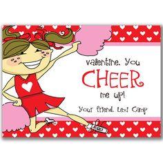 Cheerleader Valentine's Day Cards for Kids School by milelj, $15.00