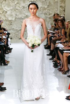 "Watters - Spring 2015. Style 7083B, ""Lalai"" sleeveless A-line wedding dress with a beaded leaf embroidery and a plunging neckline, Watters"